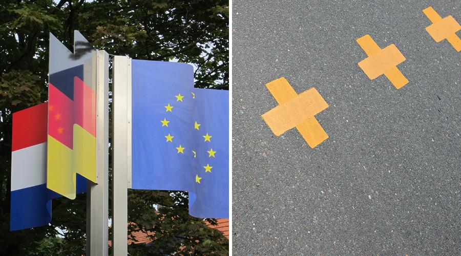 Afbeelding   Grens oversteken - laarsjes en kruisjes