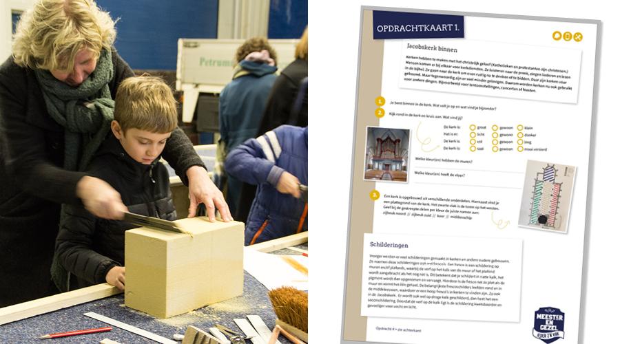 Afbeelding | de kinderen aan de slag met het educatieproject Steenhouw'n